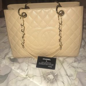 Chanel beige tote-caviar leather